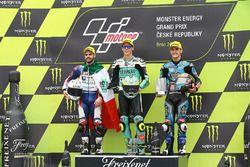 Podio: il vincitore della gara Joan Mir, Leopard Racing, il secondo classificato Romano Fenati, Marinelli Rivacold Snipers, il terzo classificato Aron Canet, Estrella Galicia 0,0