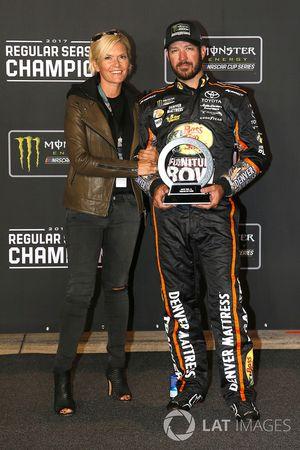 Martin Truex Jr., Furniture Row Racing Toyota, and Sherry Pollex with the Regular Season Championship trophy