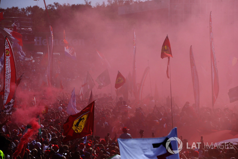 A huge crowd of Ferrari fans gather for the podium ceremony