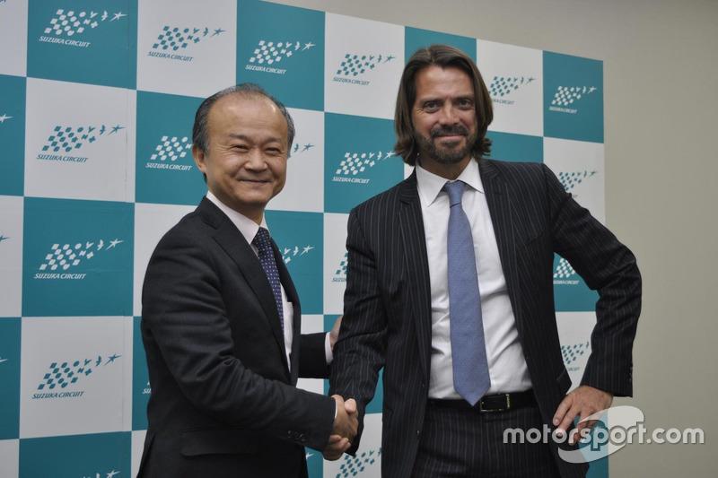 『鈴鹿10時間耐久レース』記者会見に出席した山下晋モビリティランド社長とステファン・ラテルSRO代表