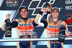 Podium: Race winner Dani Pedrosa, Repsol Honda Team, second place Marc Marquez, Repsol Honda Team