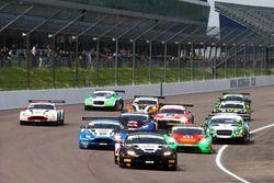 Start of the race , Derek Johnston, Jonny Adam, TF Sport Aston Martin Vantage GT3 leads