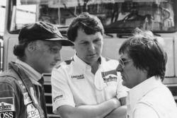 Niki Lauda, McLaren with Bernie Ecclestone and John Barnard, McLaren designer