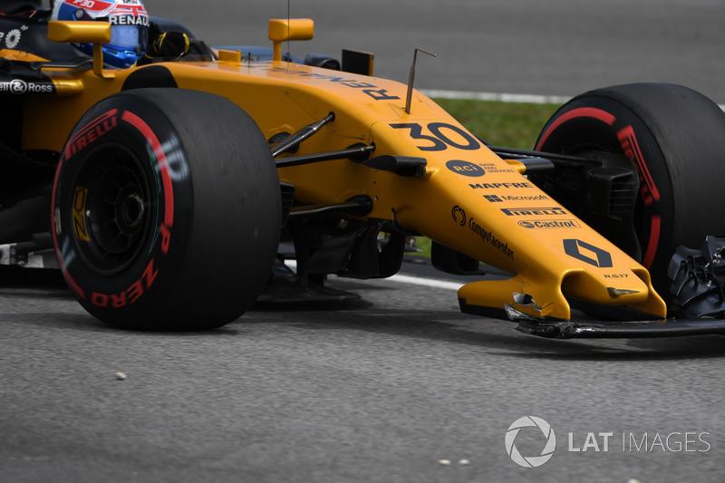 Alerón delantero del Renault de Jolyon Palmer roto en FP3