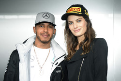 Isabeli Fontana, model with Lewis Hamilton, Mercedes AMG F1