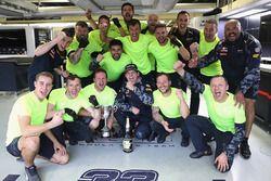 Max Verstappen, Red Bull Racing celebrates finishing third