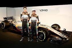 Esteban Ocon and Sergio Perez with the Sahara Force India  VJM10