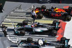 1. Lewis Hamilton, Mercedes AMG F1 W08; 2. Valtteri Bottas, Mercedes AMG F1 W08; 3. Daniel Ricciardo