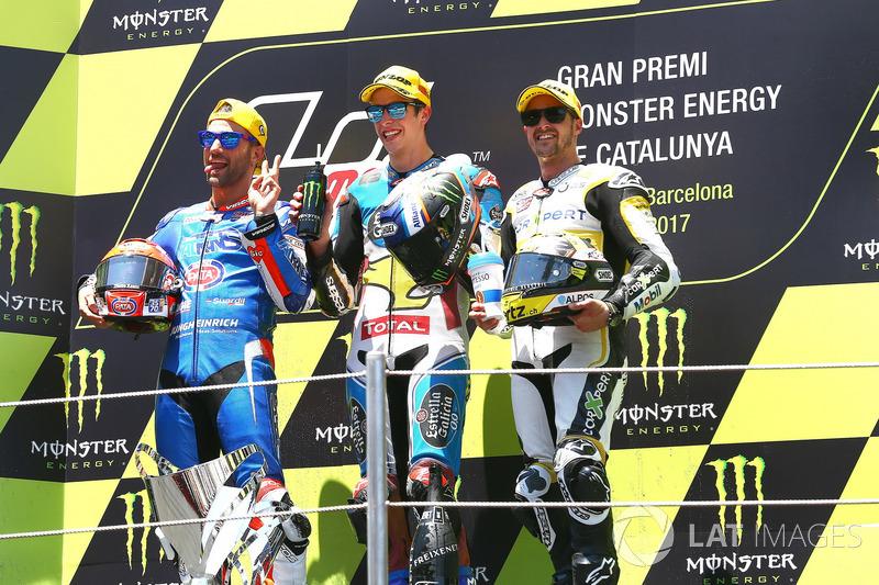 Podio: 1ºAlex Márquez, Marc VDS, 2º Thomas Luthi, 3º Miguel Oliveira*