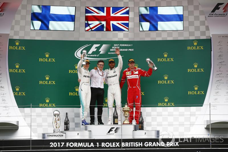 2017: 1. Lewis Hamilton, 2. Valtteri Bottas, 3. Kimi Raikkonen