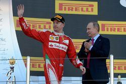 Podium: third place Kimi Raikkonen, Ferrari and Vladimir Putin, Russian Federation President