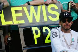 Lewis Hamilton, Mercedes AMG F1 Team fête le doublé de son équipe