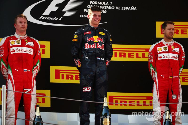 2016: 1. Max Verstappen, 2. Kimi Räikkönen, 3. Sebastian Vettel