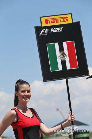 Grid girl for Sergio Perez, Sahara Force India F1