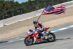 3rd place Nicky Hayden, Honda World Superbike Team celebrates after the race
