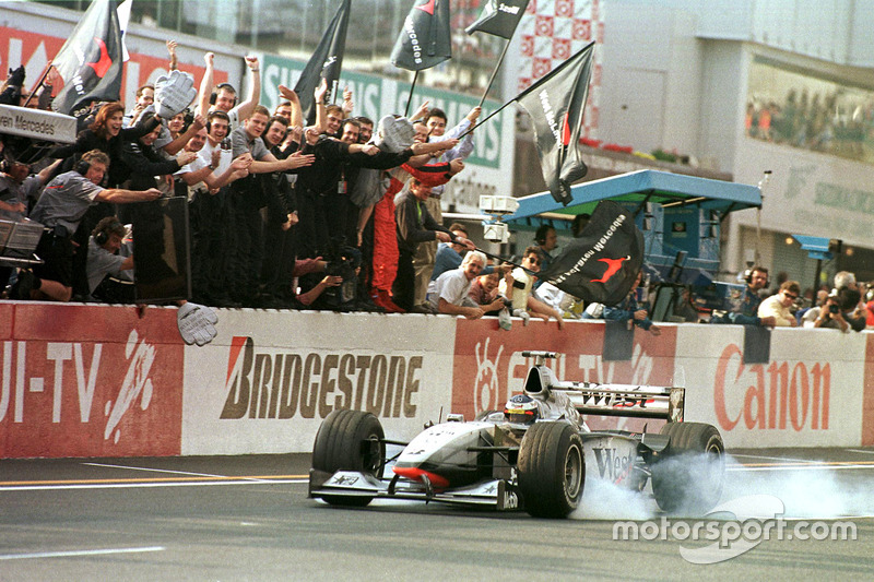 Checkerd flag for Mika Hakkinen, McLaren