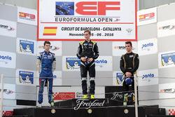 Rookie Podium: first place Ferdinand Habsburg, Drivex School; second place Colton Herta, Carlin Motorsport; third place Keyvan Andres, Carlin Motorsport