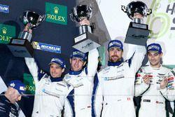Podium GTE-Am: second place #78 KCMG Porsche 911 RSR: Christian Ried, Wolf Henzler, Joël Camathias