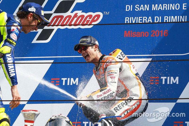 Race winner Dani Pedrosa, Repsol Honda Team, second place Valentino Rossi, Yamaha Factory Racing