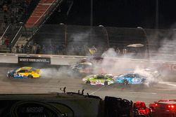 A huge crash involving several cars