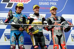 Podio: il vincitore della gara Thomas Lüthi, Interwetten, il secondo classificato Franco Morbidelli, Marc VDS, il terzo classificato Sandro Cortese, Dynavolt IntactGP