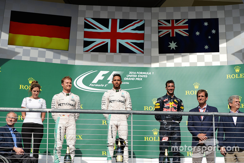 The podium (L to R): Nico Rosberg, Mercedes AMG F1, second; Lewis Hamilton, Mercedes AMG F1, race winner; Daniel Ricciardo, Red Bull Racing, third