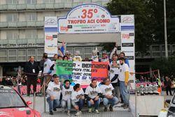 Marco Signor e Patrick Bernardi, Ford Focus WRC, Sama Racing festeggiano la vittoria del Campionato