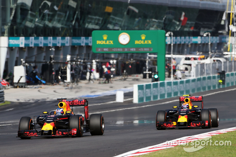 Daniel Ricciardo, Red Bull Racing RB12 and team mate Max Verstappen, Red Bull Racing RB12 battle for position