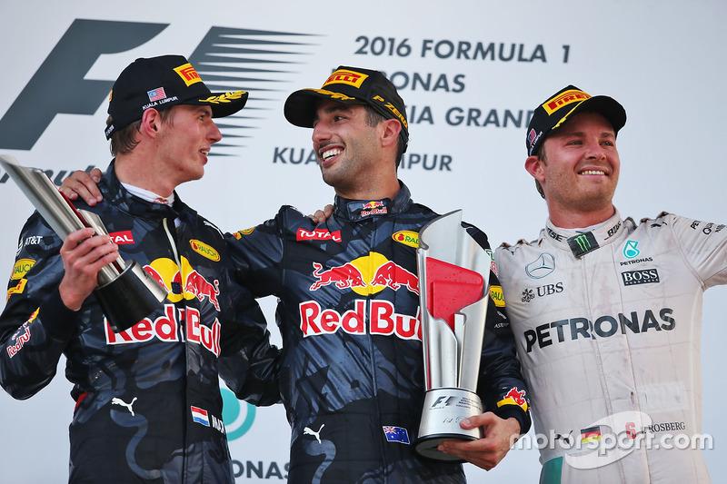 El podio: Max Verstappen, Red Bull Racing, segundo lugar; Daniel Ricciardo, Red Bull Racing gandor de la carrera y Nico Rosberg, Mercedes AMG F1 tercero