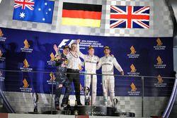 The podium (L to R): Daniel Ricciardo, Red Bull Racing, second; Nico Rosberg, Mercedes AMG F1, race
