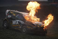 Nelson Piquet Jr., SH Racing Rallycross Ford, en flammes