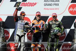 Podium: second place Jorge Lorenzo, Yamaha; Race winner Casey Stoner, Repsol Honda; third place Cal