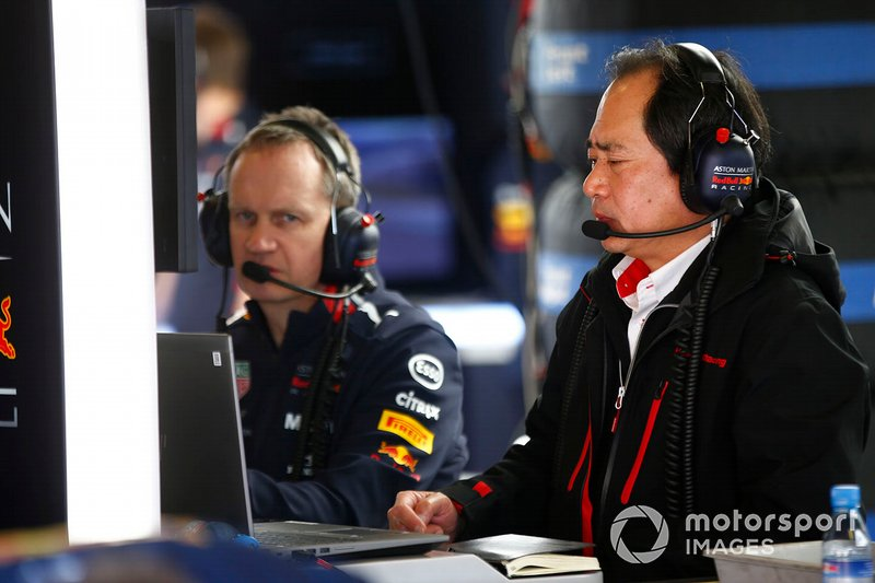 Honda team member in the Red Bull Racing garage