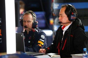 Honda team member in the Red Bull Racing garage