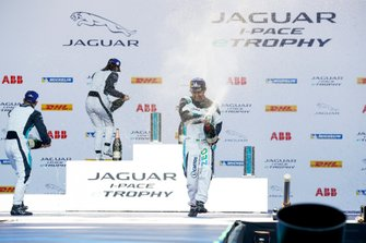 Sérgio Jimenez, Jaguar Brazil Racing celebrates third position on the podium