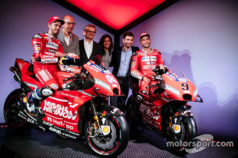 From left to right, Philip Morris International people at Ducati MotoGP Team launch in Neuchatel, Switzerland: Andrea Dovizioso, rider, Riccardo Parino, Vice President Global Event Partnerships, Miroslaw Zielinski, President Science & Innovation, Patricia Klaric, Head of Mission Winnow Project, Sebastiano Cremonini, Manager MotoGP Event Platform, and Danilo Petrucci, rider