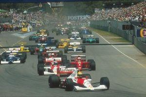 Start zum GP Australien 1990 in Adelaide: Ayrton Senna, McLaren MP4/5B, führt