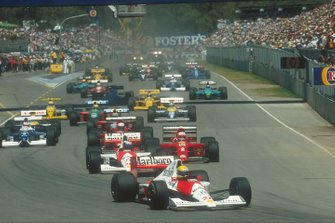 Ayrton Senna, McLaren; Gerhard Berger, McLaren; Nigel Mansell, Ferrari; Alain Prost, Ferrari; Jean Alesi, Tyrrell; Nelson Piquet, Benetton; Riccardo Patrese, Williams; Roberto Moreno, Benetton; Thierry Boutsen, Williams; Pierluigi Martini, Minardi; Derek Warwick, Lotus