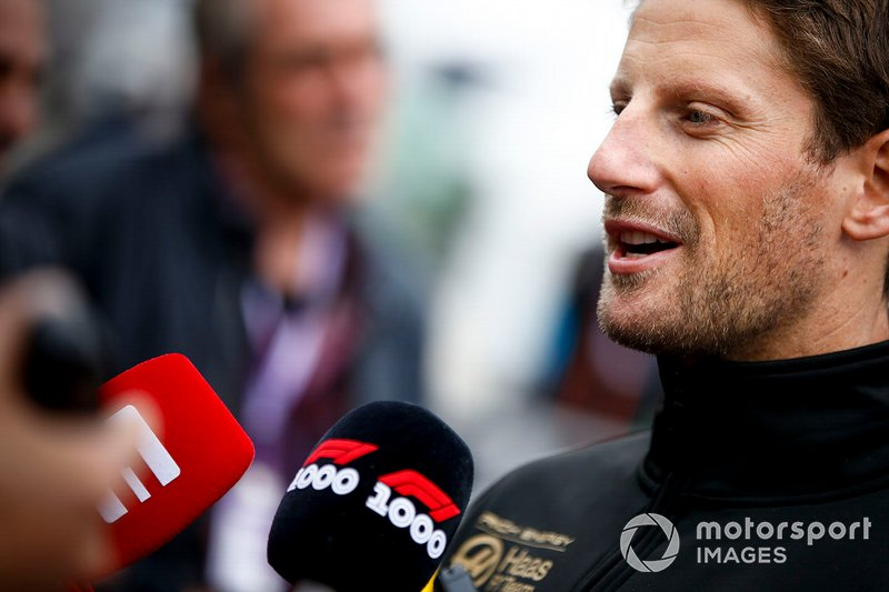 Romain Grosjean, Haas F1 speaks with the media