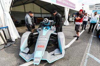 Olympic gold medalist Sir Chris Hoy in the FIA ABB Formula E track car
