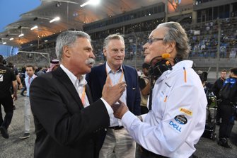 Chase Carey, Chairman, Formula 1, Sean Bratches, Managing Director of Commercial Operations, Formula One Group, and Mansour Ojjeh, co-owner, McLaren