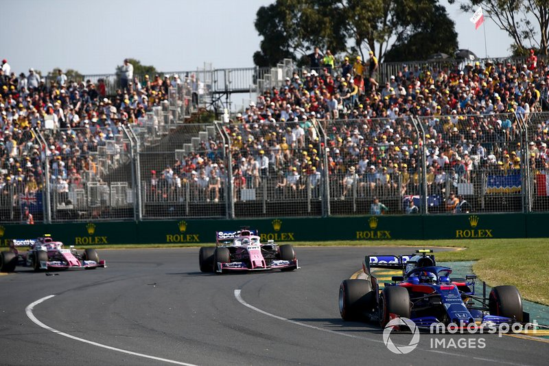 Alexander Albon, Toro Rosso STR14, Sergio Perez, Racing Point RP19, Lance Stroll, Racing Point RP19