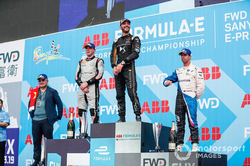 Jean-Eric Vergne, DS TECHEETAH, 1st position, Oliver Rowland, Nissan e.Dams, 2nd position, Antonio Felix da Costa, BMW I Andretti Motorsports, 3rd position, on the podium.
