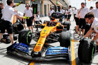 McLaren mechanics practice their pit stops