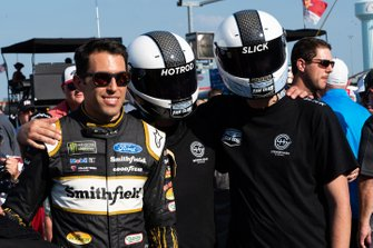 Aric Almirola poses with Stewart-Haas Gaming drivers Brandyn Gritton (SHG_HotRod_14p) and Josh Shoemaker (SHG Slick 14x)