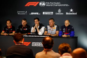 Toyoharu Tanabe, F1 Technical Director, Honda, Guenther Steiner, Team Principal, Haas F1, Toto Wolff, Executive Director (Business), Mercedes AMG, Mario Isola, Racing Manager, Pirelli Motorsport, and Franz Tost, Team Principal, Toro Rosso, in the Team Principals Press Conference