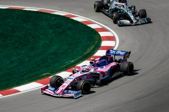 Lance Stroll, Racing Point RP19, leads Lewis Hamilton, Mercedes AMG F1 W10