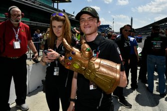 Colton Herta, Harding Steinbrenner Racing Honda, George Michael Steinbrenner IV with the Infinity Gauntlet