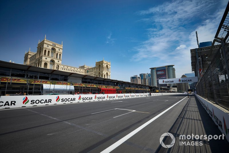 The Baku City Circuit pit straight