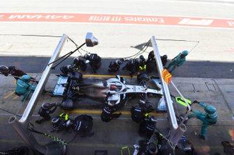 Lewis Hamilton, Mercedes AMG F1 W10, makes a stop